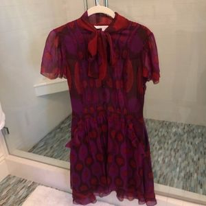 Diane von Firstenberg Silk Bow Dress w/ Pockets